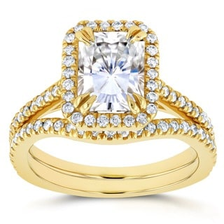 Annello 14k Yellow Gold Radiant Cut Moissanite and 2/5ct TDW Halo Diamond 2-Piece Bridal Rings Set (G-H, I1-I2)