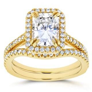 Annello by Kobelli 14k Yellow Gold 2 1/4ct TGW Radiant Cut Moissanite (HI) and Diamond Halo 2-Piece Bridal Set