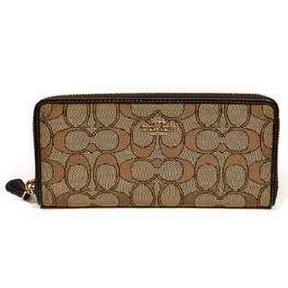 Coach Signature Jaquard Gold/Khaki/Brown Cotton Slim Accordion Zip Wallet