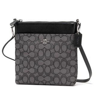 Coach Silver and Black Cotton Signature Crossbody Handbag Swingpack