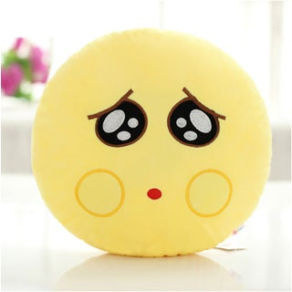 QQ Series Yellow Cotton Pity Face Emoji Round Emoticon-face Plush Pillow