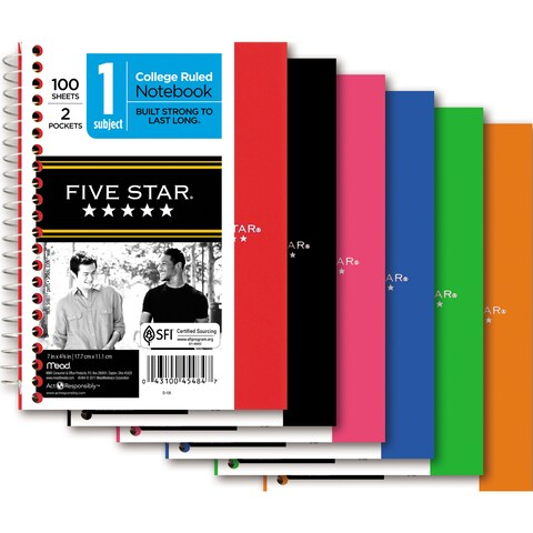 """Five Star 45484 5"""" X 7"""" College Ruled Wirebound Personal Notebook Assorted"""