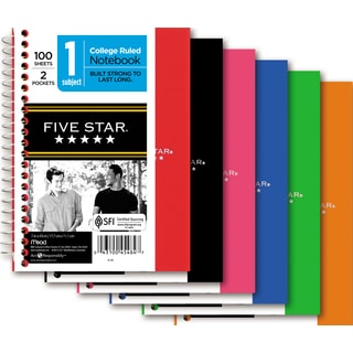 "Five Star 45484 5"" X 7"" College Ruled Wirebound Personal Notebook Assorted"