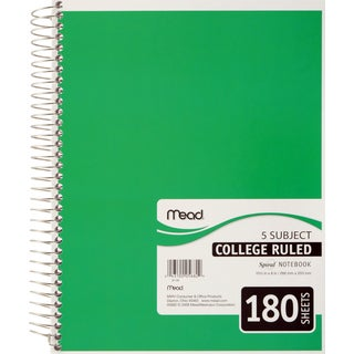 "MeadWestvaco 05682 10-1/2"" X 8"" 5 Subject Spiral Bound Notebook Assorted Colors"
