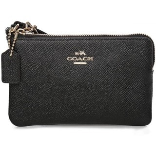 Coach Black Embossed Small L-zip Wristlet