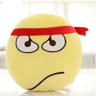 QQ Emoticon Face Struggle Face Emoji Yellow Round Plush Pillow