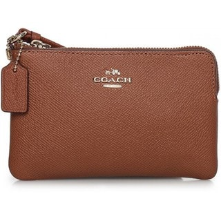 Coach Saddle Brown Leather Embossed Small L-Zip Wristlet