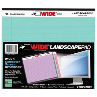 """Roaring Spring Paper Company 74535 3 Count Assorted 11"""" X 9.5"""" Wide Landscape Pad"""