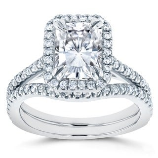 Annello 14k White Gold Radiant Cut Forever Brilliant Moissanite and 2/5ct TDW Halo Diamond 2-Piece Bridal Rings Set (G-H, I1-I2)