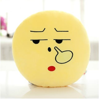 Yellow Cotton QQ Emoticon Picking Nose Emoticon Face Round Plush Pillow
