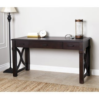 Abbyson Harbor Espresso Finish Wood and Veneer Writing Desk