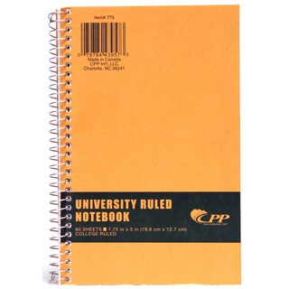 """Carolina Pad 775 7.75"""" X 5"""" College Ruled Wirebound Notebook With Kraft Cover"""