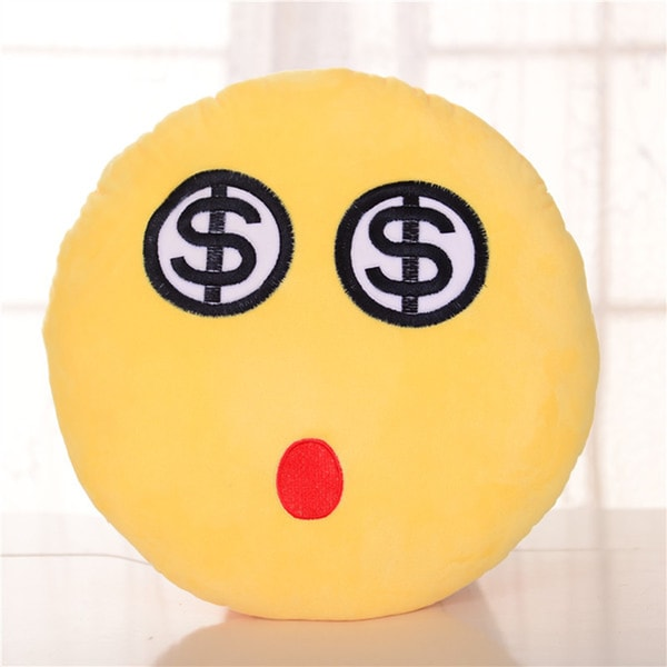 BH Toys Emoji Series Dollar Eyes Face Expression Plush Pillow