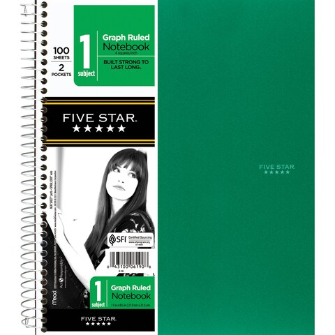 """Five Star 06190 11"""" X 8-1/2"""" Graph Ruled 1 Subject Notebook Assorted Colors"""