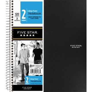 "MeadWestvaco 06188 11"" X 8-1/2"" Graph Ruled 2 Subject Notebook Assorted Colors"