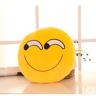 Yellow Cotton Askance Face Emoji Mini Expression Plush Pillow