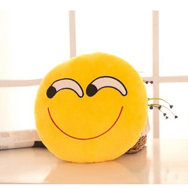 Yellow Cotton Askance Face Emoji Mini Expression Plush Pillow