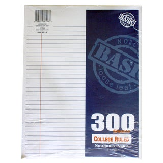 "Norcom 78306-12 11"" X 8.5"" College Ruled Filler Paper 300 Count"