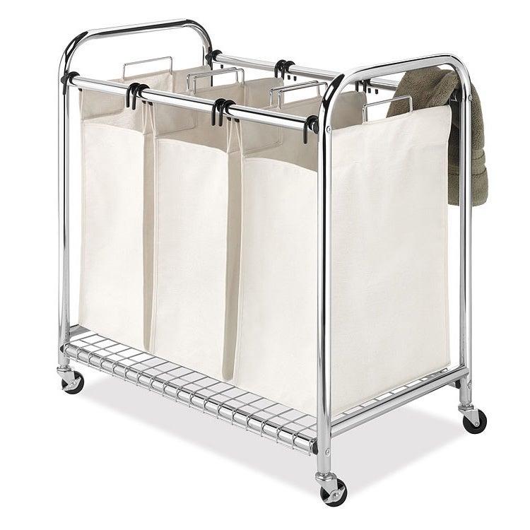 Whitmor Mfg Co Deluxe Triple Laundry Sorter, Silver steel
