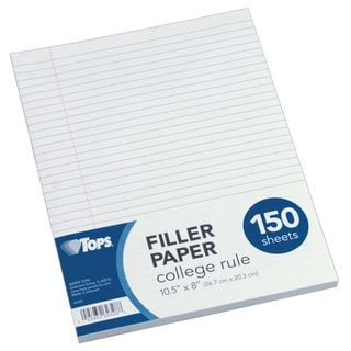 "Tops 62328 10.5"" X 8"" College Ruled Filler Paper 150 Count"