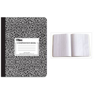 Tops 63786 9-3/4 X 7-1/2 Quad Ruled Composition Notebook