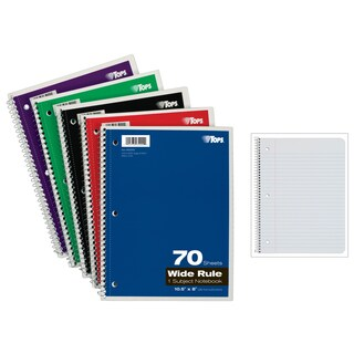 "Tops 65000 10-1/2"" X 8"" Wirebound Notebook Assorted Colors 70 Count"