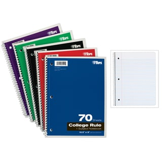 "Tops 65021 10-1/2"" X 8"" Wirebound Notebook Assorted Colors 70 Count"