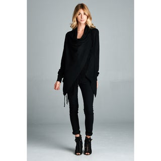 Spicy Mix Women's Saniya Cowl-neck Fringed-hem Asymmetrical Long-sleeved Cardigan Sweater