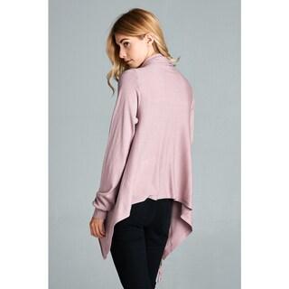 Spicy Mix Women's Saniya Cowl-neck Fringed-hem Asymmetrical Long-sleeved Cardigan Sweater