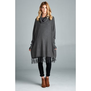 Amany Women's Spicy Mix Charcoal Grey Cowl-neck Long-sleeve Fringed-hem Knit Sweater