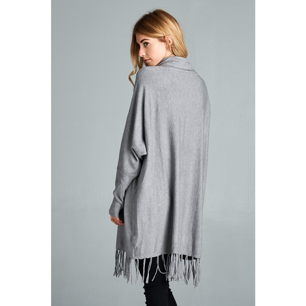 Amany Women's Spicy Mix Charcoal Grey Cowl-neck Long-sleeve ...