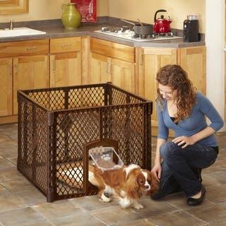 North States Petyard Passage Brown 4-panel Pet Gate (Option: Brown)|https://ak1.ostkcdn.com/images/products/12839365/P19604675.jpg?impolicy=medium