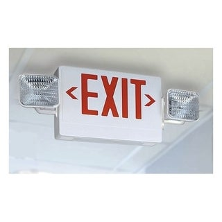 Lithonia Lighting White Thermoplastic LED Emergency Exit Sign and Light Fixture