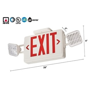 Lithonia Lighting White Thermoplastic Contractor Select LED Emergency Exit Sign and Light Combo