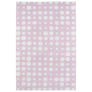 Littles Pink & Ivory Dots Microfiber Rug (5' x 7')