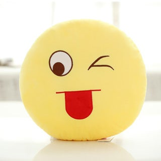QQ Emoticon Yellow Round Plush 'Lovely Face' Emoji Pillow