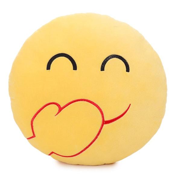 BH Toys Laughing Face Emoji Yellow Cotton Plush Pillow