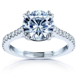 Annello 14k White Gold Round Cut Moissanite and 1/4ct TDW Halo Diamond Engagement Ring (G-H, I1-I2)