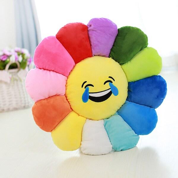 Emoji Plush Expression Tears of Joy Face Flower Pillow