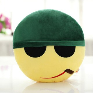 QQ Emoticon Private Face Emoji Yellow Cotton Round Plush Pillow