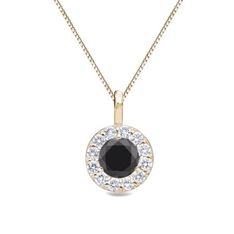 Auriya 1/2ctw Round Black Diamond Halo Necklace 14k Gold