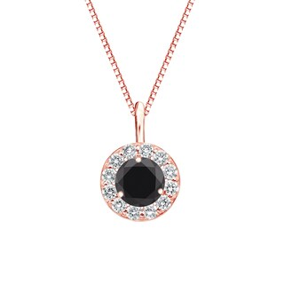 Auriya 14k Gold 3/4ct TDW Black Diamond Halo Necklace