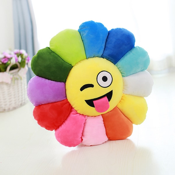 BH Toys Yellow/Multicolored Cotton 19.5-inch Emoji Plush Wink-face Expression Flower Pillow