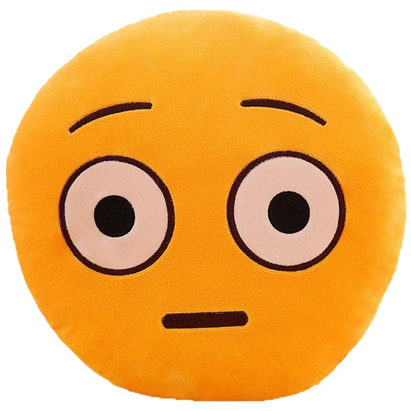 QQ Emoticon Series Yellow Cotton Shocked Face Emoji Plush Expression Pillow