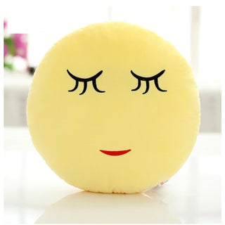 QQ Emoticon Face 'Shy Face' Yellow Cotton Round Plush Emoji Pillow