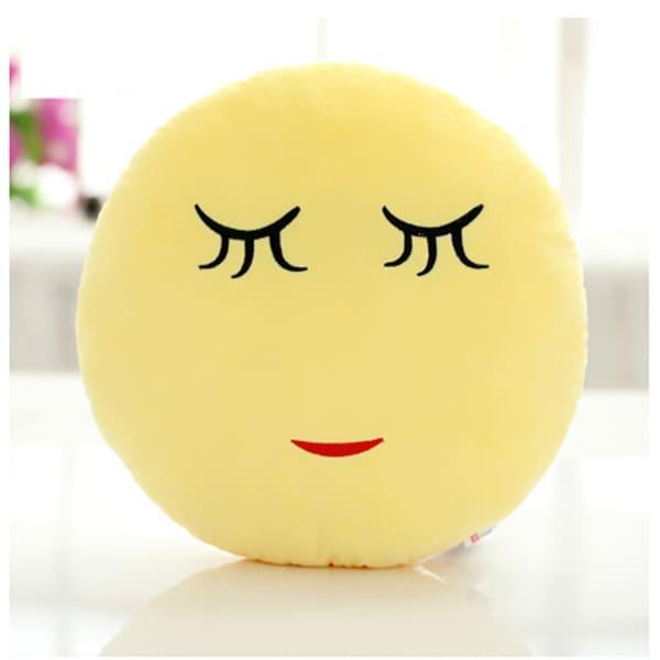 QQ Emoticon Face 'Shy Face' Yellow Cotton Round Plush Emoji Pillow