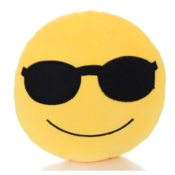 Emoji Series Collection Yellow Cotton Cool Face Expression Plush Mini Pillow