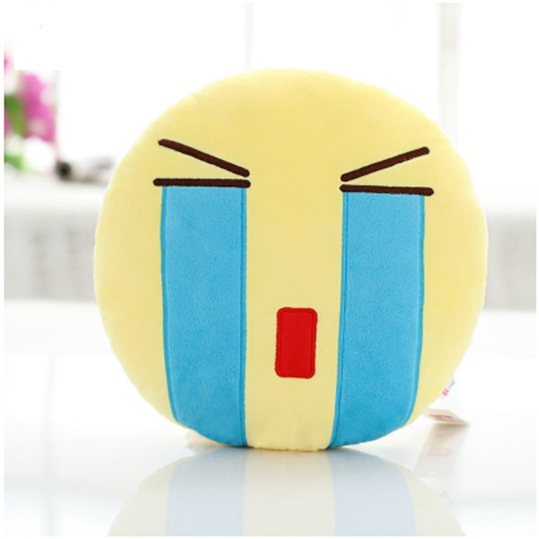 QQ Emoticon Face Cry Face Emoji Yellow Round Plush Pillow