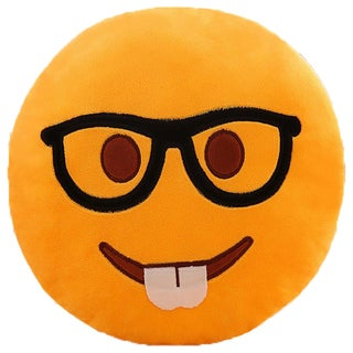 BH Toys Geek Face Emoji Yellow Cotton 13.5-inch Plush Expression Pillow