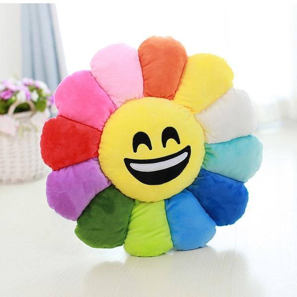 Emoji Plush Smile Face Expression Flower Pillow